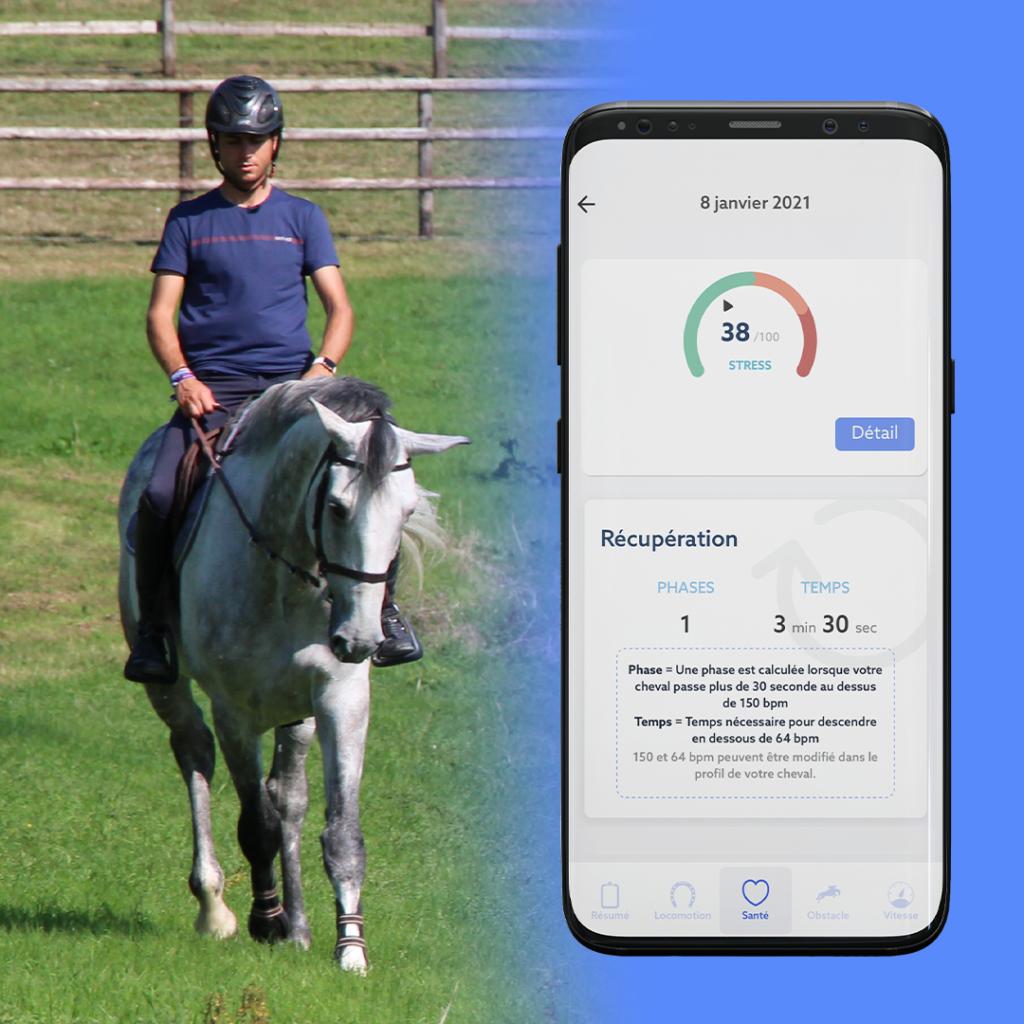 Grâce à CEEFIT Pulse & ECG, obtenez le temps de récupération de votre cheval lors de votre séance.